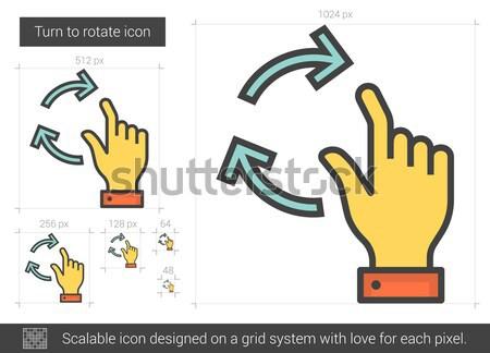 повернуть вращать линия икона вектора изолированный Сток-фото © RAStudio
