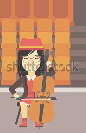 Człowiek gry wiolonczela asian młody człowiek wiolonczelista Zdjęcia stock © RAStudio