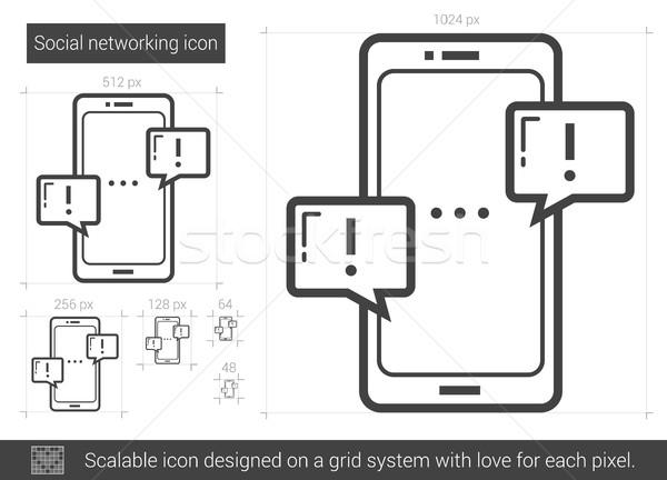 социальной сетей линия икона вектора изолированный Сток-фото © RAStudio