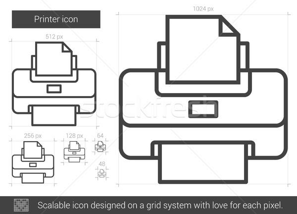 Drucker line Symbol Vektor isoliert weiß Stock foto © RAStudio