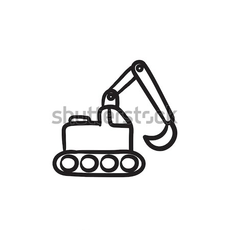 Kotrógép rajz ikon vektor izolált kézzel rajzolt Stock fotó © RAStudio