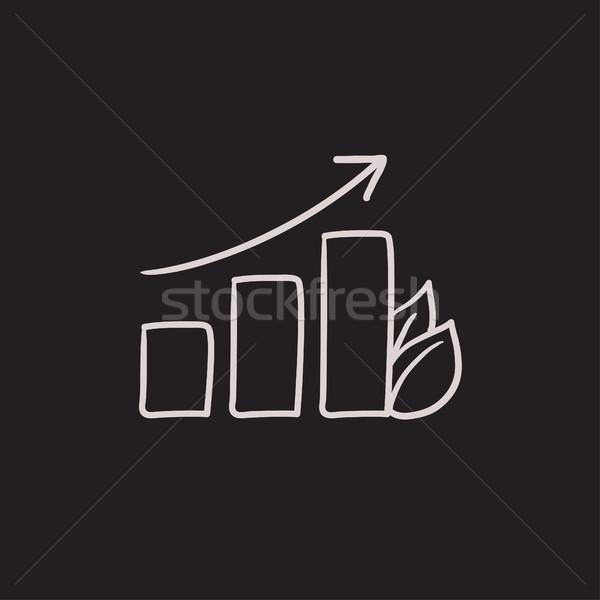 Oszlopdiagram levél rajz ikon vektor izolált Stock fotó © RAStudio