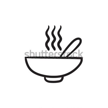 Bowl of hot soup with spoon sketch icon. Stock photo © RAStudio