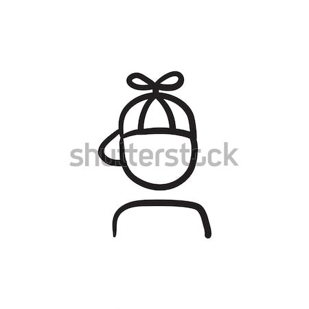 Jongen cap propeller schets icon vector Stockfoto © RAStudio