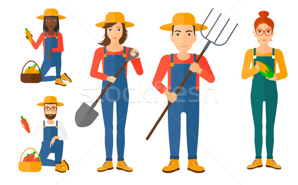 Set of agricultural illustrations with farmers. Stock photo © RAStudio