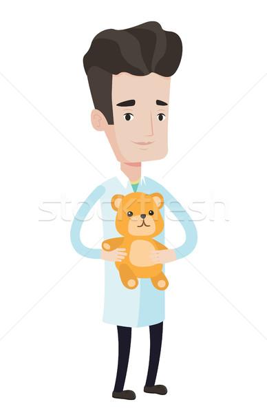 Kinderarts arts teddybeer permanente jonge Stockfoto © RAStudio