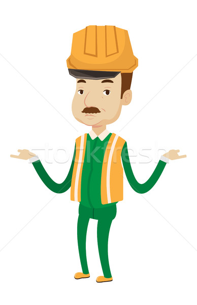 Builder in hard hat with spread arms. Stock photo © RAStudio