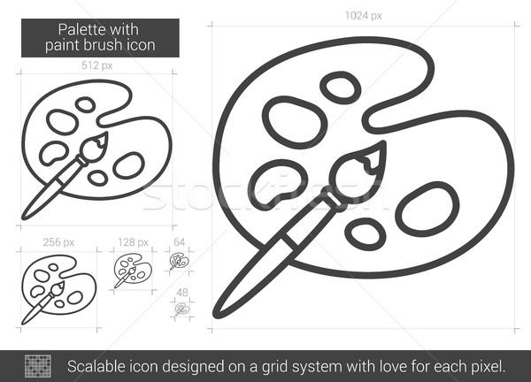 Paletta ecset vonal ikon vektor izolált Stock fotó © RAStudio
