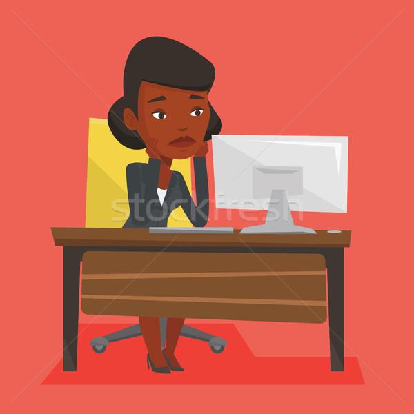 исчерпанный печально сотрудник рабочих служба сидят Сток-фото © RAStudio