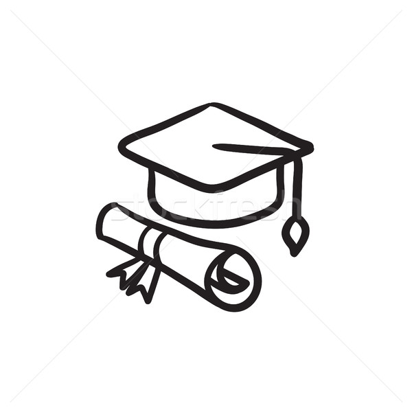 Graduation cap with paper scroll sketch icon. Stock photo © RAStudio
