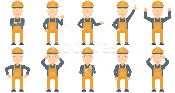 Сток-фото: вектора · набор · строители · кавказский · молодые