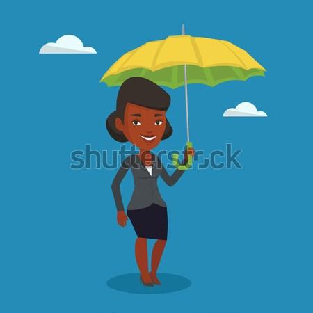 Business woman balancing on a tightrope. Stock photo © RAStudio