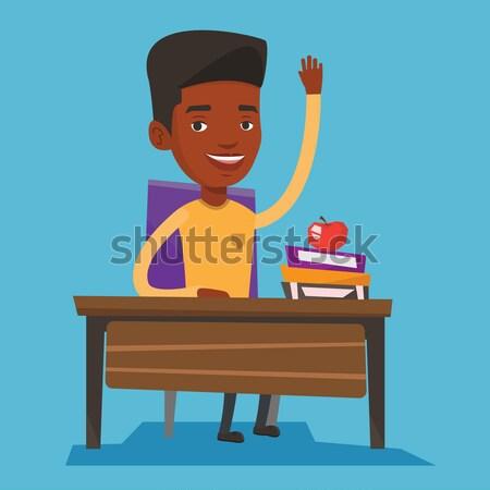 Estudante mão classe responder africano sessão Foto stock © RAStudio
