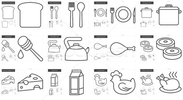 Egészséges étel vonal ikon gyűjtemény vektor izolált fehér Stock fotó © RAStudio