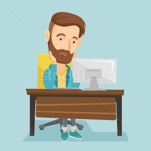 Sfinito triste dipendente lavoro ufficio Foto d'archivio © RAStudio
