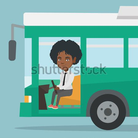 アフリカ バス ドライバ 座って ハンドル 小さな ストックフォト © RAStudio