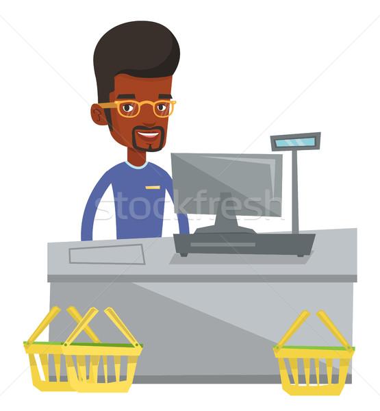 キャッシャー 立って スーパーマーケット 作業 レジ ストックフォト © RAStudio