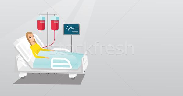 Férfi kórházi ágy kaukázusi nő ágy kórház Stock fotó © RAStudio