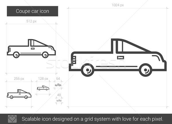 Foto stock: Coupe · coche · línea · icono · vector · aislado