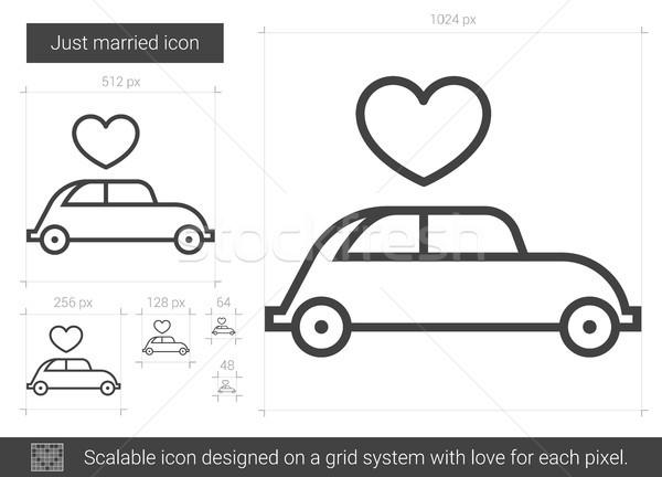 Friss házasok vonal ikon vektor izolált fehér Stock fotó © RAStudio