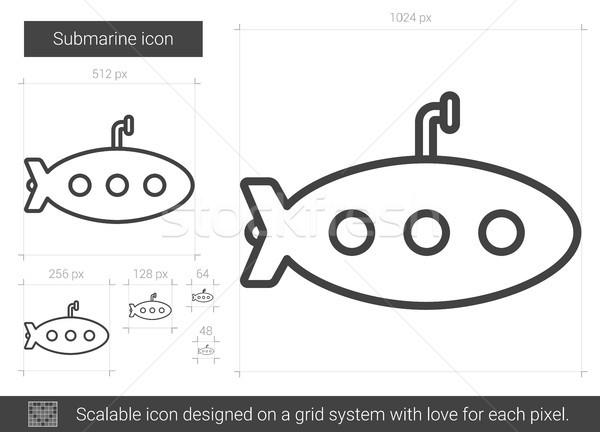 подводная лодка линия икона вектора изолированный белый Сток-фото © RAStudio