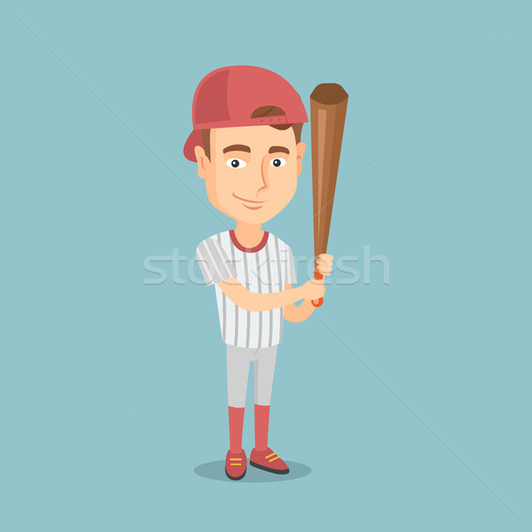 Baseball player with a bat vector illustration. Stock photo © RAStudio