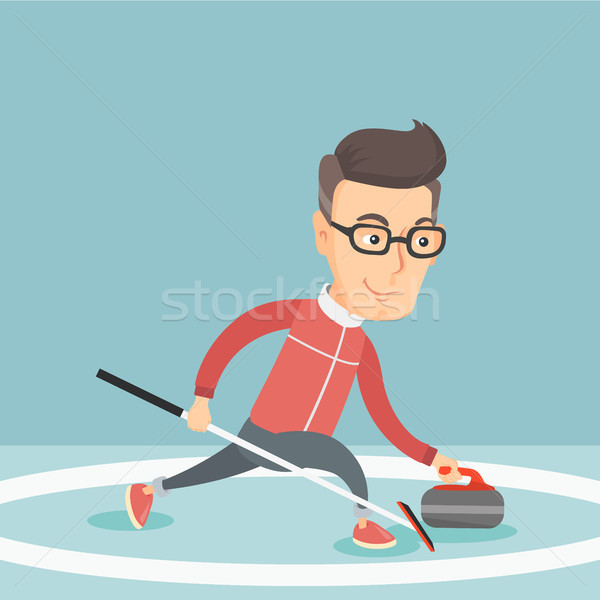 Sportsman playing curling on on a skating rink. Stock photo © RAStudio
