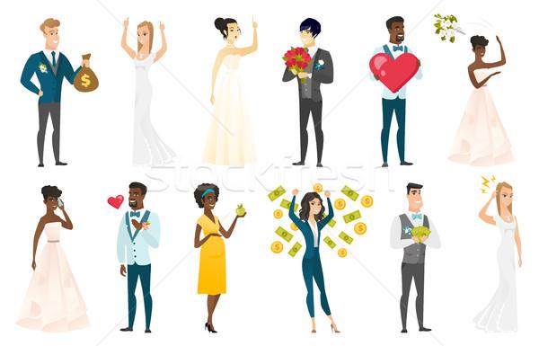 Foto stock: Noiva · noivo · vetor · ilustrações · conjunto · casamento