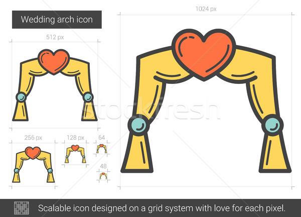 свадьба арки линия икона вектора изолированный Сток-фото © RAStudio
