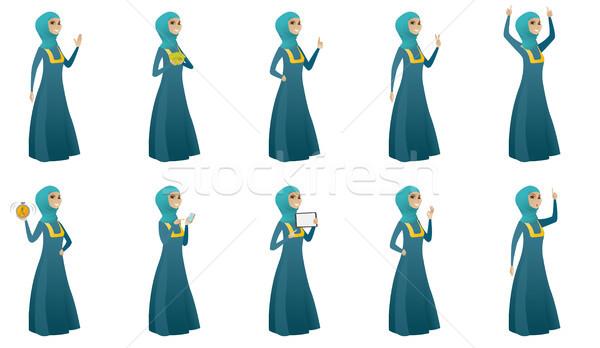 Muslim business woman vector illustrations set. Stock photo © RAStudio