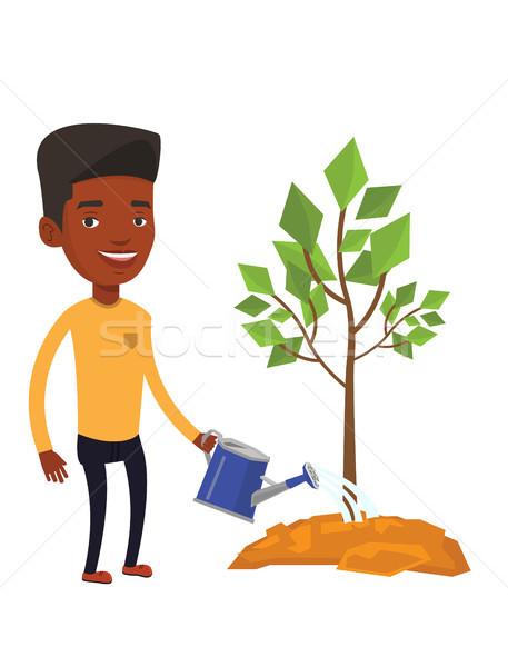 Man watering tree vector illustration. Stock photo © RAStudio