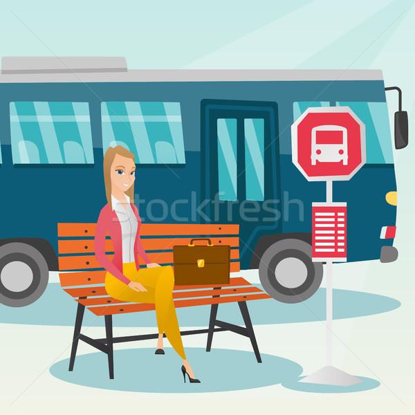 Kafkas kadın bekleme otobüs otobüs durağı işkadını Stok fotoğraf © RAStudio