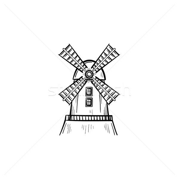 Szélmalom kézzel rajzolt rajz ikon vektor skicc Stock fotó © RAStudio
