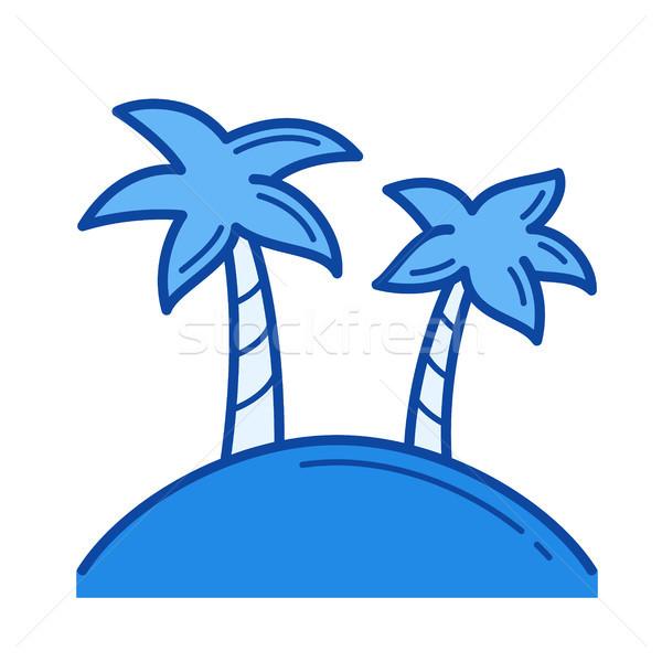 Tropisch eiland lijn icon vector geïsoleerd witte Stockfoto © RAStudio