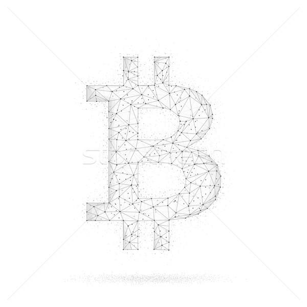 Bitcoin munt veelhoek technologie netwerk stijl Stockfoto © RAStudio