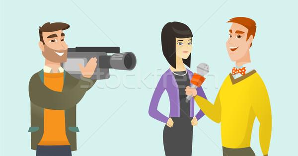 Tv interview vector cartoon illustratie jonge Stockfoto © RAStudio