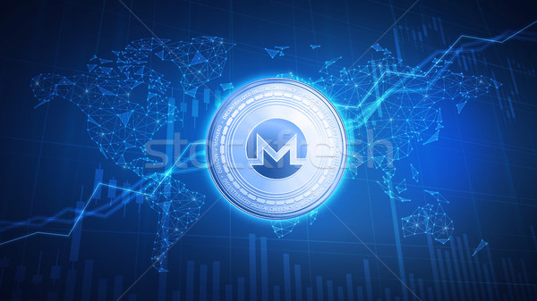 Monero coin on hud background with bull stock chart. Stock photo © RAStudio
