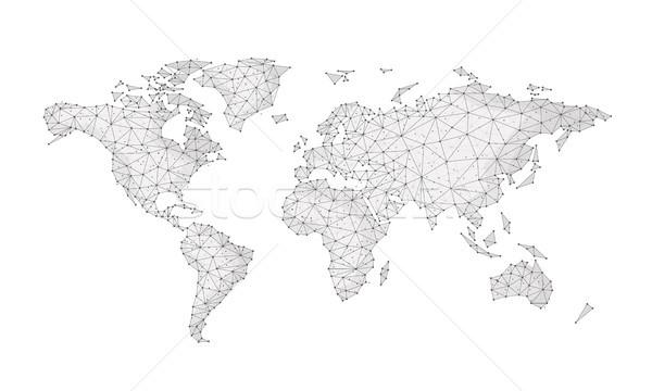 Blockchain polygon network world map isolated on white. Stock photo © RAStudio