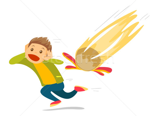 Caucasian white man running from falling meteorite Stock photo © RAStudio