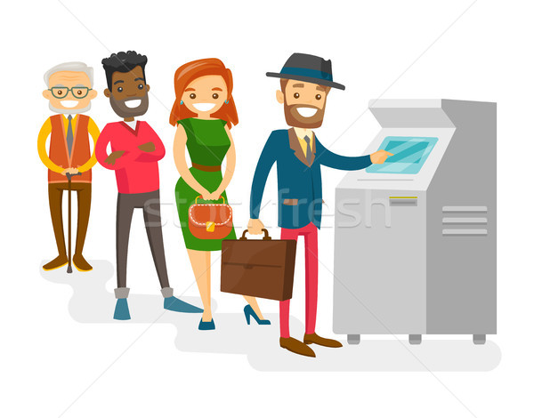 Multicultural people standing in a queue to ATM. Stock photo © RAStudio