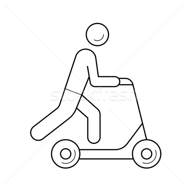 Lökés moped vonal ikon vektor izolált Stock fotó © RAStudio