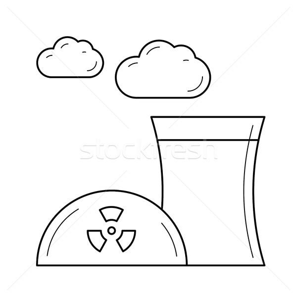 Jądrowej elektrownia wektora line ikona dymu Zdjęcia stock © RAStudio