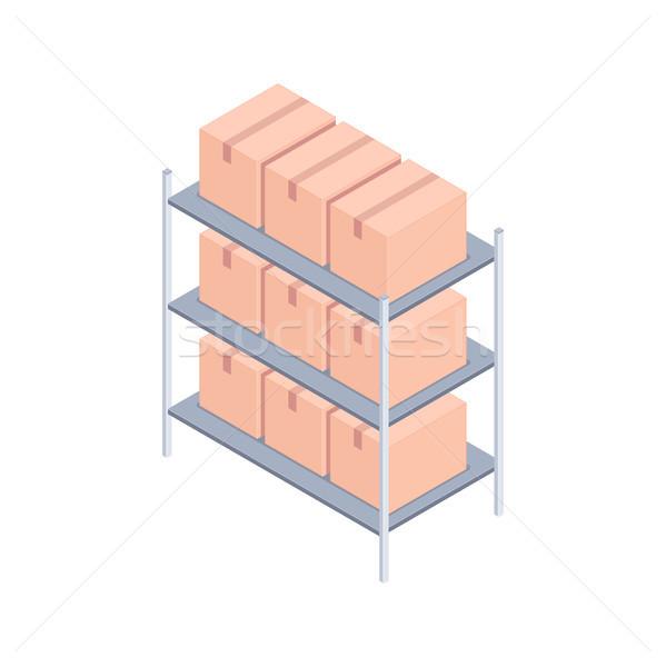 Photo stock: Cases · isométrique · métal · rack · carton · livraison
