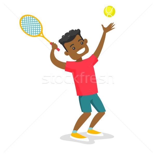 Black tennis player playing tennis. Stock photo © RAStudio