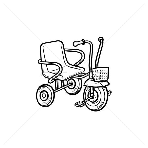 üç tekerlekli bisiklet karalama ikon bebek Stok fotoğraf © RAStudio