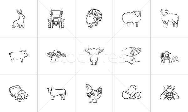 Farm animals hand drawn sketch icon set. Stock photo © RAStudio