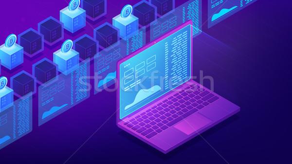 Isometric cryptocurrency trading landing page concept. Stock photo © RAStudio