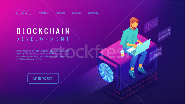 Isometric blockchain development concept. Stock photo © RAStudio