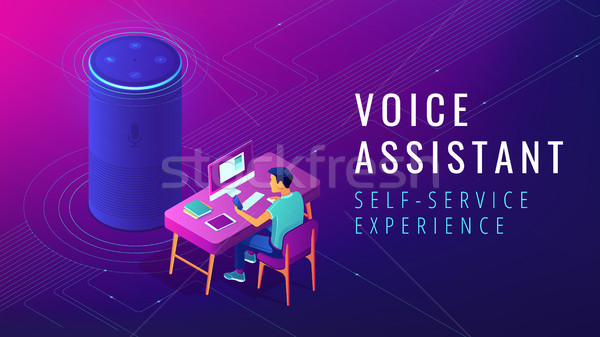 Isometric voice assistant automated self service illustration Stock photo © RAStudio
