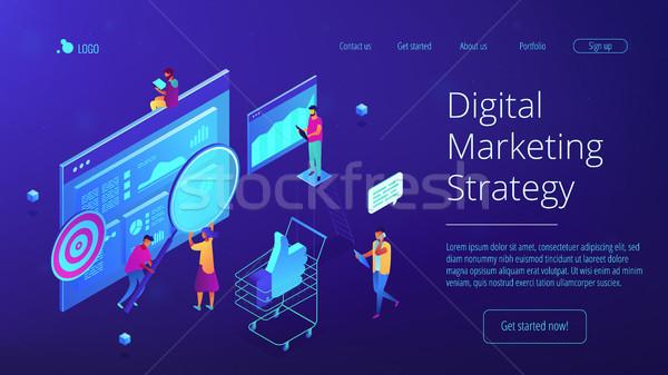 Isométrica digital estratégia de marketing aterrissagem página equipe Foto stock © RAStudio